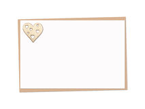 Holiday card with wooden heart Royalty Free Stock Images