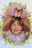Holiday celebrating. Happy Easter. Springtime. Surprise. Happy Easter kid. Holiday background. Funny bunny. Think outside of box Royalty Free Stock Image