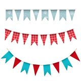Holiday celebration background with a garland. Bunting flag banner with dots and snowflakes. Christmas and New Year design. Vector illustration Royalty Free Stock Images