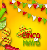 Holiday Celebration Banner for Cinco De Mayo with Chili Pepper, Sombrero Hat, Maracas, Piece of Lime, Cactus Stock Image