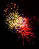 Holiday Celebration Fireworks Display. Exploding fireworks dazzle spectators during a national holiday Stock Photo