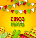 Holiday Celebration Poster for Cinco De Mayo. Illustration Holiday Celebration Poster for Cinco De Mayo with Chili Pepper, Sombrero Hat, Maracas, Piece of Lime Stock Images
