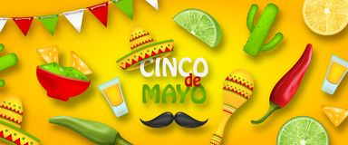 Free Holiday Celebration Poster For Cinco De Mayo With Chili Pepper, Sombrero Hat, Maracas, Piece Of Lime, Cactus Stock Image - 162022521