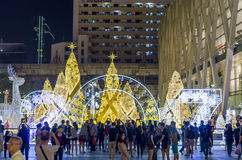 Holiday celebrations. People celebrating Christmas and the New Years Eve on the public square at the Central World shopping mall in Bangkok, Thailand Stock Images
