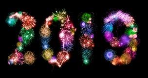 2019 New Year. Holiday celebratory fireworks on black. Shape of 2019 Yew Year royalty free stock photo