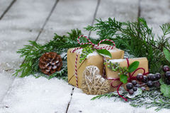 Holiday centerpiece on winter background Royalty Free Stock Image