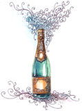 Holiday champagne. Graphic decorated holiday champagne (Cbm painting Stock Photography