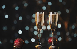 Holiday champagne glasses stock photos