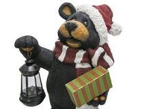 Holiday cheer bear present lantern cutout Royalty Free Stock Photos