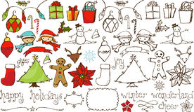 Holiday Cheer Hand Drawn Collection Royalty Free Stock Photography