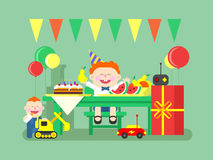 Holiday child birthday. Happy kid and gift, celebration and event, air balloon and sweet food. Flat vector illustration Stock Images