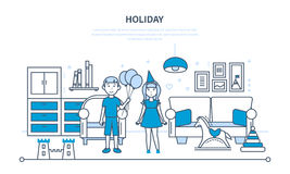 Holiday in children, with a festive mood, relaxing at home. Holiday in children. Boy and girl with a festive mood, relaxing at home in the guest room, on the Royalty Free Stock Image