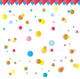 Holiday children pattern. Festive children pattern. Holiday background with colorful confetti and triangle flags. Abstract Vector illustration. Hand Drawn. For vector illustration