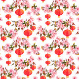 Holiday chinese lantern in spring blossom - sakura flowers . Repeating pattern. Watercolor background. Holiday chinese lantern in spring blossom, sakura flowers royalty free stock image