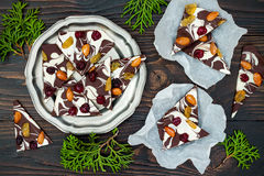 Holiday chocolate bark with dried fruits and nuts on a dark wood background. Top view. Dessert recipe for judaic holiday Tu Bishva Royalty Free Stock Photos