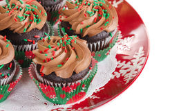 Holiday chocolate cupcakes Stock Photography