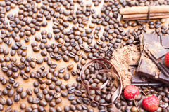 Holiday of chocolate day - wooden table background of coffee Royalty Free Stock Images