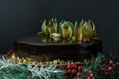 Holiday chocolate mousse cake. On a stand of fir-tree with berries on a black background Stock Photography