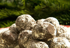 Holiday chocolate pecan truffles Royalty Free Stock Images