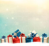 Holiday Christmas background with a border of gift boxes. Stock Photography