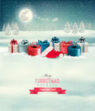 Holiday Christmas background with a border of gift boxes. Royalty Free Stock Image