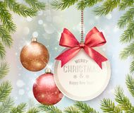 Holiday Christmas background with branches of tree. And a colorful balls. Vector Royalty Free Stock Image