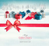 Holiday Christmas background with colorful gift boxes Royalty Free Stock Photos