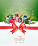 Holiday Christmas background with colorful gift boxes Royalty Free Stock Photography
