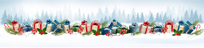 Holiday Christmas background with colorful gift boxes. Royalty Free Stock Photo