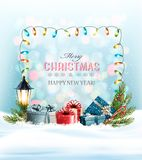 Holiday Christmas background with a colorful presents and garland. vector illustration