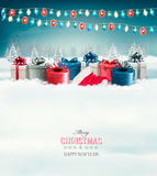 Holiday Christmas background with gift boxes and garland. Vector Royalty Free Stock Photography