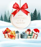 Holiday Christmas background with a gift boxes and gift card Royalty Free Stock Photo