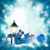 Holiday Christmas background with a gift boxes and lamp. Vector Stock Images