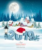 Holiday christmas background with 2019 stock illustration