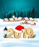 Holiday christmas background with 2019 and gift boxes. Vector royalty free illustration