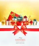 Holiday Christmas background with a gift boxes.and red bow Stock Photos