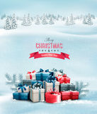 Holiday Christmas background with gift boxes. Royalty Free Stock Images