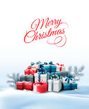 Holiday Christmas background with gift boxes. Royalty Free Stock Photography