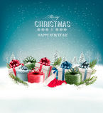 Holiday Christmas background with a gift boxes. Royalty Free Stock Image
