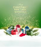 Holiday Christmas background with a gift boxes. Stock Photo