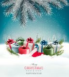 Holiday Christmas background with a gift boxes Royalty Free Stock Photos