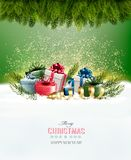 Holiday Christmas background with a gift boxes Royalty Free Stock Photo