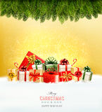 Holiday Christmas background with a gift boxes. Royalty Free Stock Images