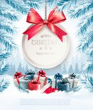 Holiday Christmas background with a gift card. And a blue bow. Vector Royalty Free Stock Photos