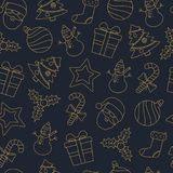 Holiday and Christmas background with icons Royalty Free Stock Photo