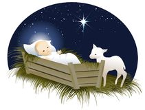 Jesus in the crib. Holiday Christmas background with Jesus in the crib royalty free illustration