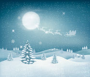 Holiday christmas background with landscape Royalty Free Stock Images