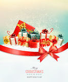Holiday Christmas background with presents.and a gift bow. Stock Photography