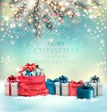 Holiday Christmas background with a sack royalty free illustration