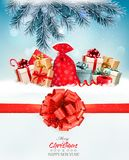 Holiday Christmas background with a sack full of gift boxes. And branches of tree. Vector Royalty Free Stock Photography